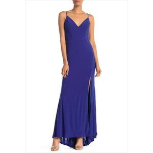 JUMP APPAREL NEW Blue Plunge Jersey Maxi Dress